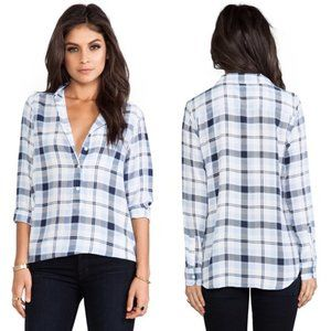 Equipment Capri Country Plaid Blouse in Peacoat Pl
